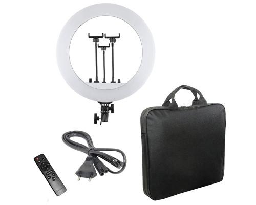 Кольцевая селфи лампа RL-14 с пультом, тремя держателями для смартфона, сумкой, диаметр 36 см