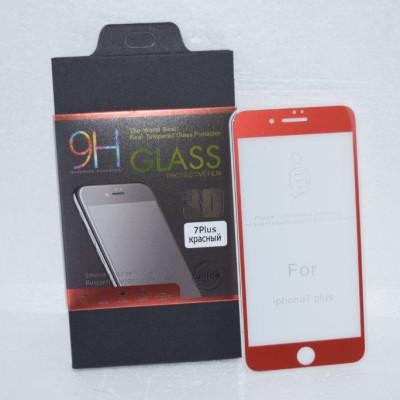 Защитное стекло для iPhone 7 Plus 5D красное