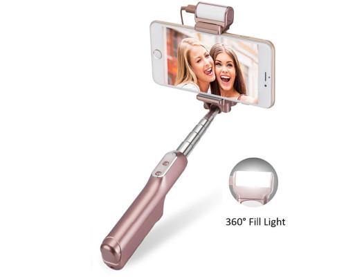 Монопод для селфи A6 с подсветкой и зеркалом Bluetooth