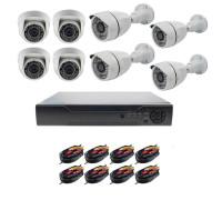Комплект AHD видеонаблюдения на 8 камер (4 камеры для улицы, 4 камеры для помещения)  2Mп