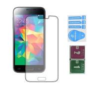 Защитное стекло для Samsung Galaxy S5 (вид — 2.5D, в комплекте салфетка и стикер)