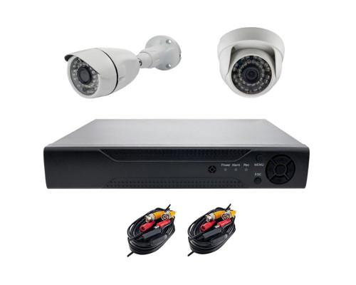 Комплект AHD видеонаблюдения на 2 камеры (1 камера для улицы, 1 камера для помещения)  2Mп
