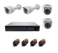 Комплект AHD видеонаблюдения на 4 камеры (2 камеры для улицы, 2 камеры для помещения)  2Mп