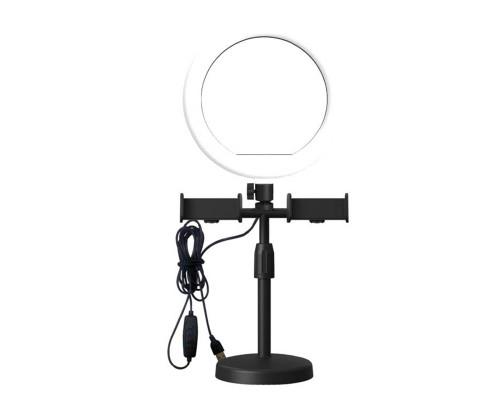 Кольцевая светодиодная лампа CXB-160A, с двумя держателями для телефона, диаметром 15 см