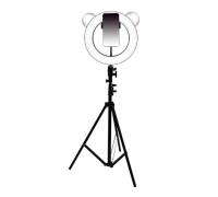 Кольцевая лампа Медведь с держателем для смартфона, со штативом, форма лампы Медведь, диаметр лампы - 28 см, светло-коричневая