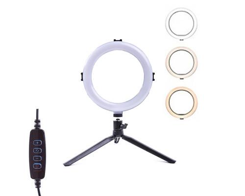 Кольцевая лампа LED SL-208 20 см на настольной треноге, с шарниром, 10 ступеней яркости