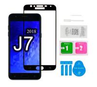 Защитное стекло для Samsung Galaxy J7 2018 (вид - 5D полная проклейка, черная рамка, в комплекте салфетка, стикер и гель для подклейки)
