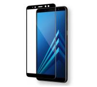 Защитное стекло для Samsung Galaxy A8 Plus (вид - 5D полная проклейка, черная рамка, комплектация эконом)