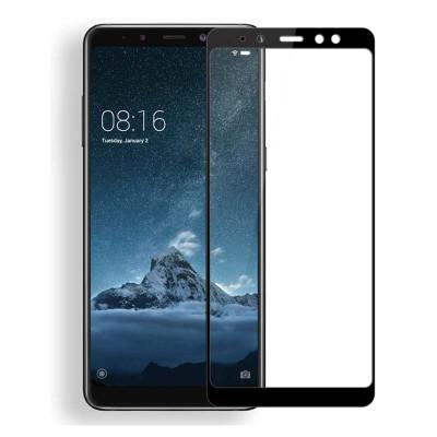 Защитное стекло для Samsung Galaxy A8 2018 (вид - 5D полная проклейка, черная рамка, комплектация эконом)