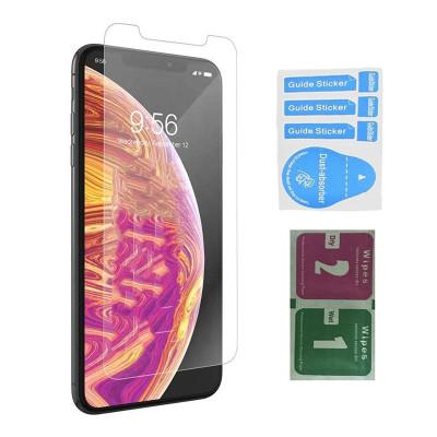 Защитное стекло для iPhone X (вид - 2.5D, в комплекте салфетка и стикер)