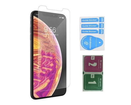 Защитное стекло для iPhone XS (вид - 2.5D, в комплекте салфетка и стикер)