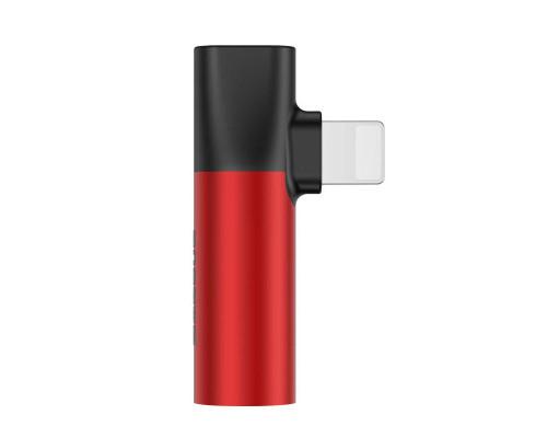 Переходник Baseus Lightning (M) - Lightning (F) + jack 3.5mm (F), L43, красный