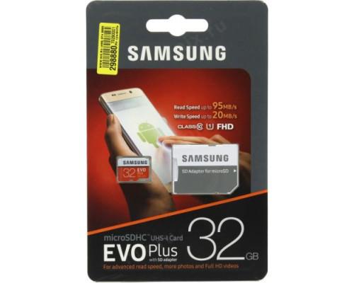 Карта памяти Samsung Evo plus microSDHC Class 10 32gb 95 mb/s + SD adapter
