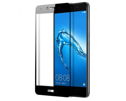 Защитное стекло для Huawei Y7 2018 (вид - 5D полная проклейка, черная рамка, в комплекте салфетка, стикер и гель для подклейки)