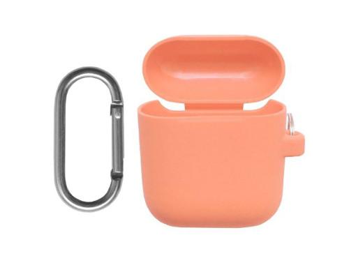 Силиконовый чехол для Airpods с карабином оранжевый