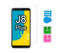 Защитное стекло для Samsung Galaxy J8 Plus (вид - 2.5D, в комплекте салфетка и стикер)