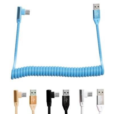 Кабель USB - microUSB L-образный витой провод 1M