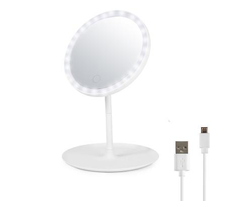 Косметическое настольное зеркало для макияжа с подсветкой и лотком, диаметр 17.5 см, белое