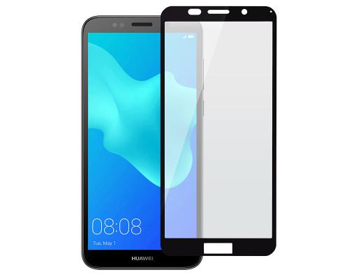 Защитное стекло для Huawei Y5 2018 (вид - 5D полная проклейка, черная рамка, комплектация эконом)