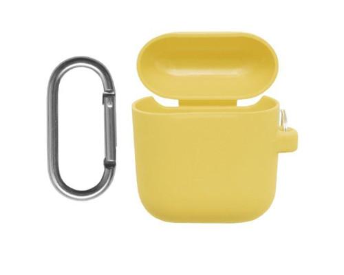 Силиконовый чехол для Airpods с карабином желтый