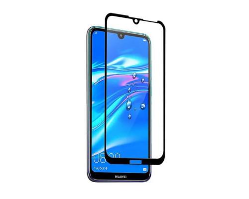 Защитное стекло для Huawei Y7 2019 (вид - 5D полная проклейка, черная рамка, в комплекте салфетка, стикер и гель для подклейки)