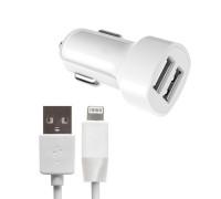 Автомобильное зарядное устройство на 2 USB Lightning 2.1A Z2A Hoco белый
