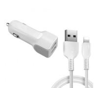 Автомобильное зарядное устройство Lightning 2.4A Z23 Hoco 2 USB белое
