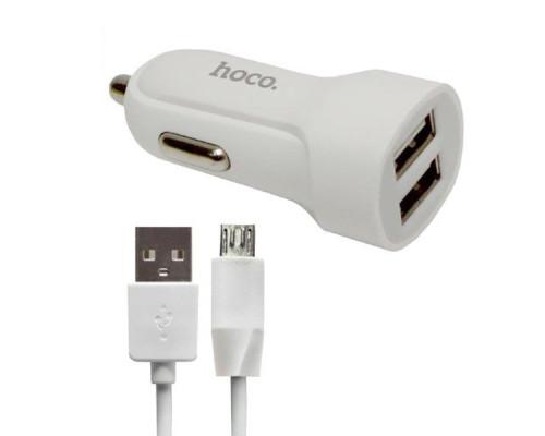 Автомобильная зарядка Hoco Z2A + microUSB