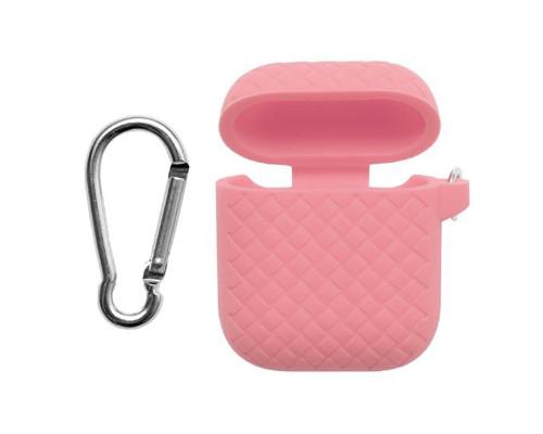 Силиконовый чехол для Airpods с карабином под плетение розовый