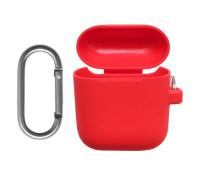 Силиконовый чехол для Airpods с карабином красный