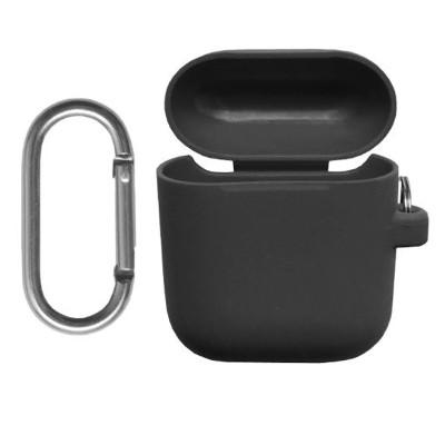 Силиконовый чехол Airpods с карабином черный