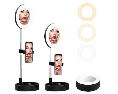 Светодиодная кольцевая лампа-зеркало для макияжа G3, настольная с лотком, диаметр 16 см, черная