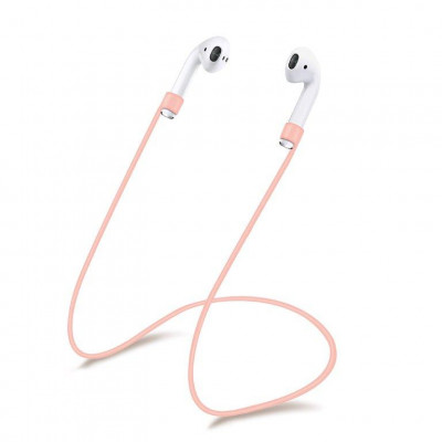 Силиконовый шнурок для Airpods розовый