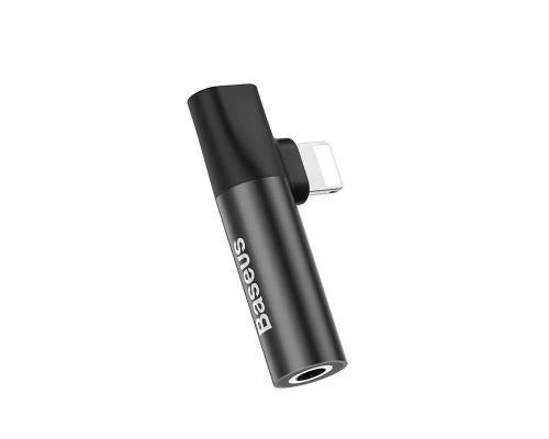 Переходник Baseus Lightning (M) - Lightning (F) + jack 3.5mm (F), L43, черный