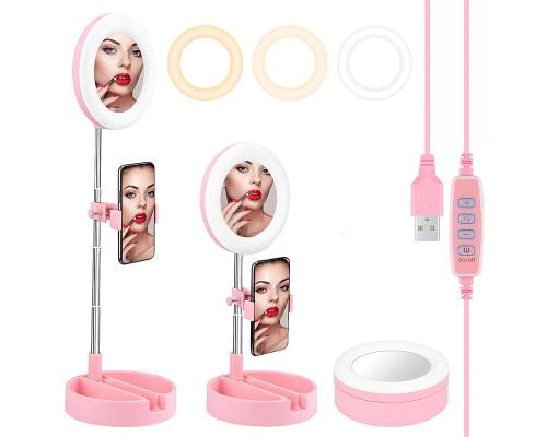 Светодиодная кольцевая лампа-зеркало для макияжа G3, настольная с лотком, диаметр 16 см, розовая
