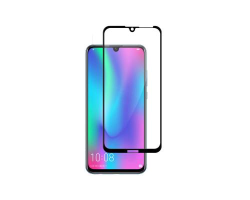 Защитное стекло для Huawei Y7 2019 5D полная проклейка, черное, прочность 9H