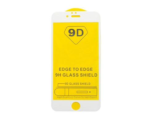 Защитное стекло для Iphone 6 (вид - 5D полная проклейка, белая рамка, в комплекте салфетка, стикер и гель для подклейки)