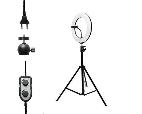 Кольцевая лампа визажиста для профессиональной съемки, селфи лампа с держателем для смартфона, со штативом, ZD-340 диаметр лампы - 34 см