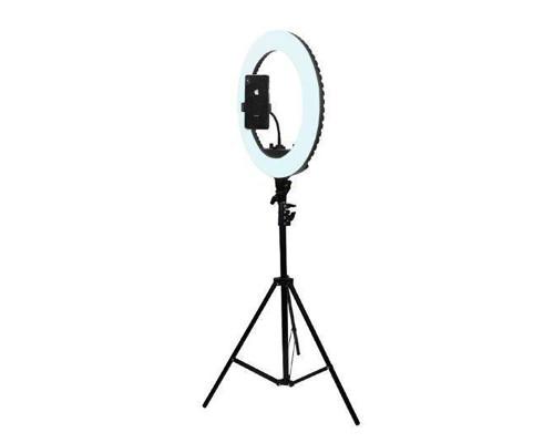Кольцевая лампа визажиста для профессиональной съемки, селфи лампа с держателем для смартфона, со штативом и пультом, диаметр лампы - 46 см
