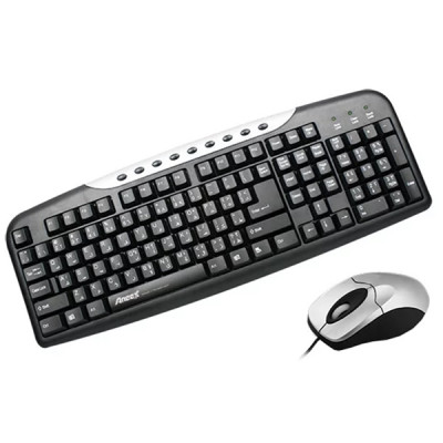 Клавиатура и мышь Aneex E-KM1865 Black-Silver USB