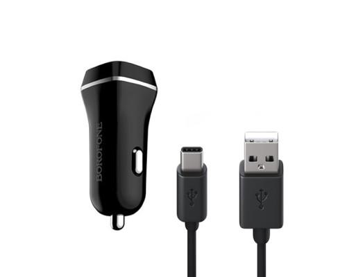 Автомобильная зарядка Borofone Joyroad BZ2 черный + USB Type-C
