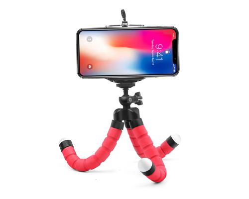 Штатив-трипод для телефона с гибкими ножками, красный