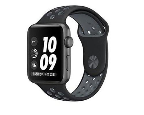 Ремешок для Apple Watch 38 - 40 мм с перфорацией черный с серым