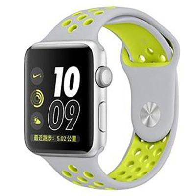 Ремешок для Apple Watch 42 - 44 мм с перфорацией серый с зеленым