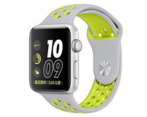 Ремешок для Apple Watch 38 - 40 мм с перфорацией серый с зеленым