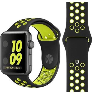 Ремешок для Apple Watch 42 - 44 мм с перфорацией черный с зеленым