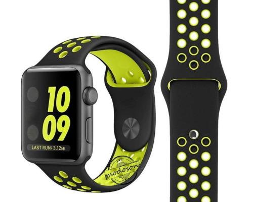 Ремешок для Apple Watch 38 - 40 мм с перфорацией черный с зеленым