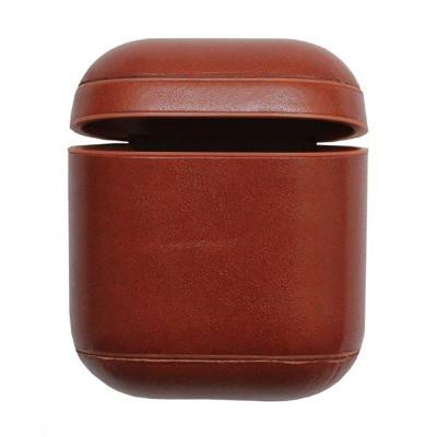 Кожаный чехол для Airpods натуральная кожа коричневый