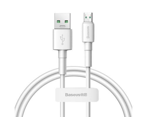 Кабель Baseus Mini White Quick Charge Data Cable USB (USB 2.0 (am) — microUSB (bm), 4 А, 1 м, белый)
