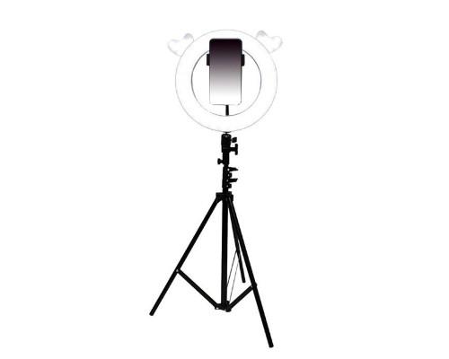 Кольцевая лампа Лось с держателем для смартфона, со штативом, форма лампы Лось, диаметр лампы - 28 см, белая